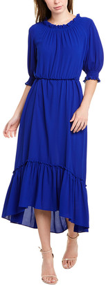 Donna Morgan Ruffle Neck Maxi Dress