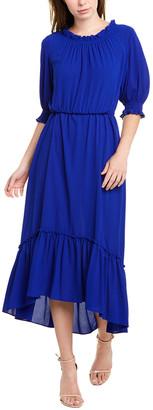 Donna Morgan Ruffle Neck Maxi Dress