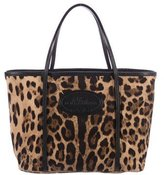 Dolce & Gabbana Leather-Trimmed Leopard Print Tote