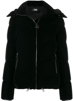 Karl Lagerfeld Paris velvet puffer jacket