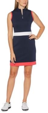 PGA Tour Mock-Neck Colorblocked Quarter-Zip Dress