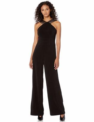 Halston Women's Sleeveless Multi Strip Wide Leg