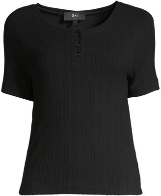 3x1 Rib-Knit Short-Sleeve Henley