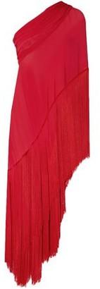 Naeem Khan Asymmetric One-shoulder Fringed Silk-chiffon Tunic