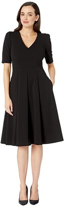 Donna Morgan V-Neck Fit and Flare Crepe Dress (Black) Women's Dress