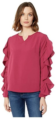 Rock and Roll Cowgirl Ruffle Long Sleeve Blouse B4-4496 (Wine) Women's Clothing
