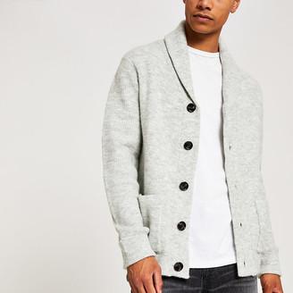 River Island Grey knitted shawl collar cardigan