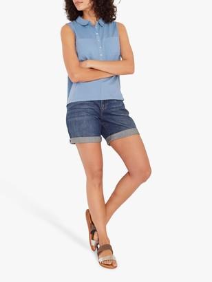 White Stuff Sugar Spoon Sleeveless Cotton Shirt, Light Blue
