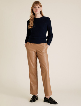 Marks and Spencer Faux Leather Straight Leg Joggers