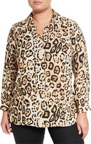 Vince Camuto Long-Sleeve Animal-Print Blouse, Rich Black, Plus Size
