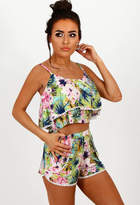 Pink Boutique Flower Child Tropical Print Double Layer Crop Top