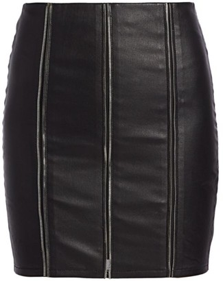 RtA Amelie Zipper Leather Mini Skirt