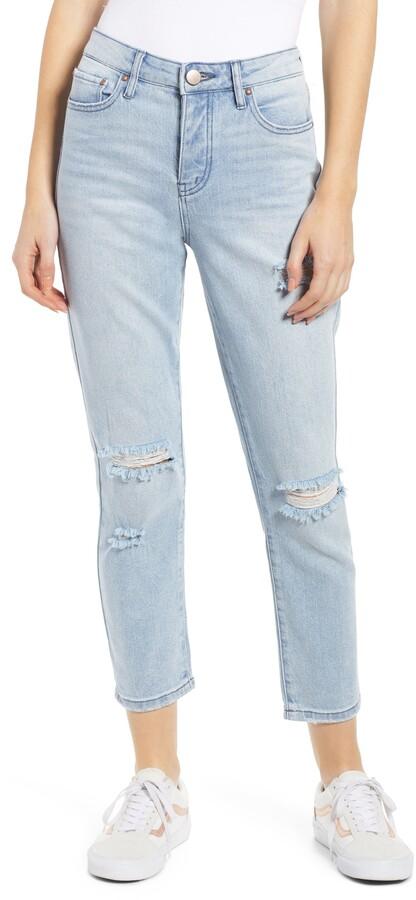Prosperity Denim Ripped Ankle Straight Leg Jeans
