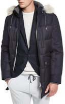 Brunello Cucinelli Mixed-Media Quilted Parka w/Fur-Trim Hood, Navy