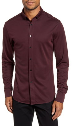 Vince Camuto Slim Fit Pique Knit Button-Down Shirt