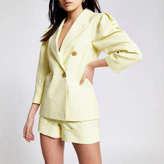 River Island Yellow puff sleeve double breasted blazer