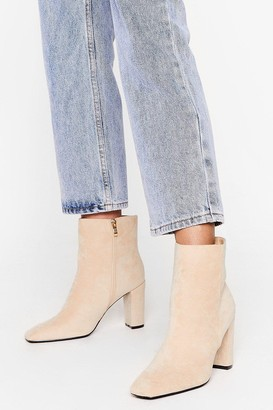 Nasty Gal Womens Go Toe to Toe Faux Suede Ankle Boots - Beige - 3