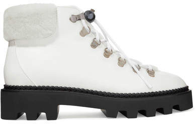 Nicholas Kirkwood Shearling-trimmed Leather Ankle Boots - White