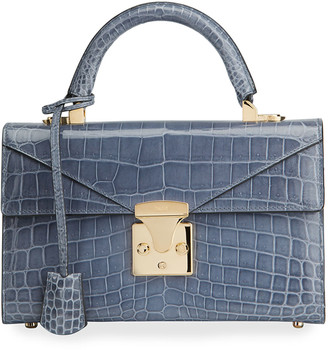Stalvey Glossy Alligator 2.5 Small Top-Handle Bag, Indigo