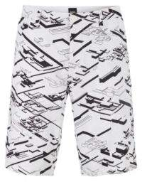 Graphic-print slim-fit shorts in stretch cotton