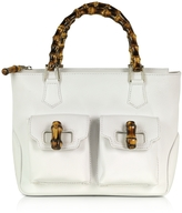 Buti Front Pockets White Leather Satchel Bag w/ Bamboo Handles