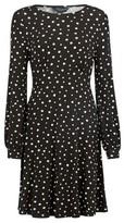Dorothy Perkins Womens Monochrome Spot Print Empire Line Dress