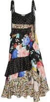 Attico - Carmen Ruffled Embroidered Floral-print Silk-satin Midi Dress - Black