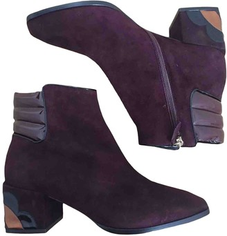 Nicholas Kirkwood Burgundy Suede Ankle boots
