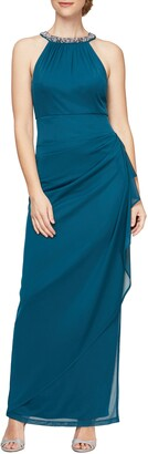 Alex Evenings Embellished Ruched Column Gown