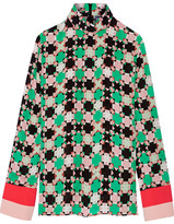 Emilio Pucci Printed Silk-blend Georgette Blouse - Green