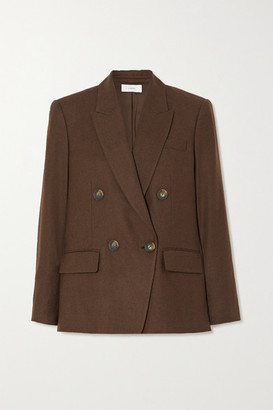 Vince Double-breasted Flannel Blazer - Brown