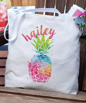 Personalized Planet Totebags - White & Rainbow Pineapple Personalized Tote