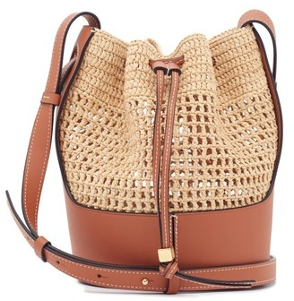 Loewe Paula's Ibiza - Anagram-debossed Raffia And Leather Bucket Bag - Beige Multi