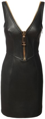 Moschino Leather Biker Dress W/Maxi Zip