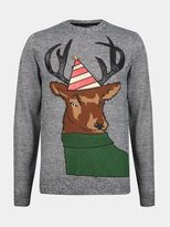 Burton Burton Grey Party Stag Christmas Jumper