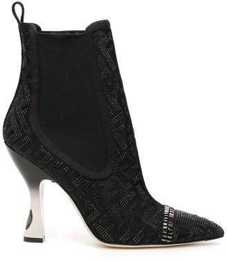 Fendi Colibri Mesh Panelled Pointed Ankle Boots