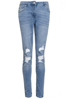 Quiz Blue Ripped Knee Skinny Jeans