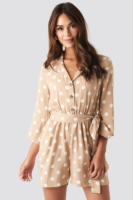 NA-KD Dotted Playsuit Beige