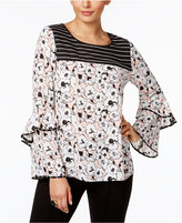 NY Collection Mixed-Print Ruffled Blouse