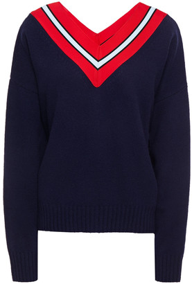 Sandro Intarsia-paneled Wool-blend Sweater