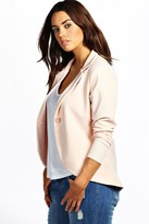 boohoo Plus Astrella One Button Ponte Blazer nude