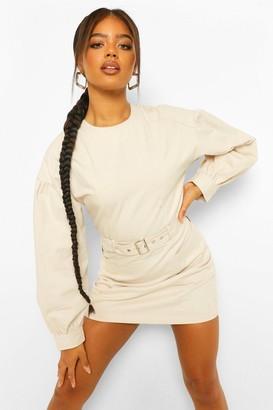 boohoo Denim Puff Sleeve Belted Mini Dress