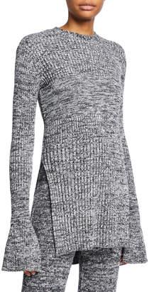 Victoria Victoria Beckham Marled Long-Sleeve Keyhole Tunic