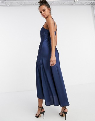 New Look satin frill hem midi dress in navy
