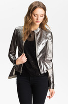 Robert Rodriguez Silver Leather Peplum Jacket