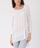 White Floral-Accent Hi-Low Silk-Blend Tunic