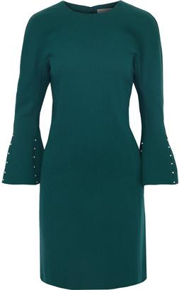 Lela Rose Fluted Embellished Wool-blend Crepe Mini Dress