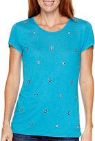 Liz Claiborne Short-Sleeve Beaded Scoopneck T-Shirt