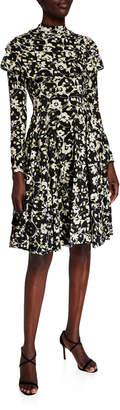 Valentino Ruffled Long-Sleeve Floral Circle Dress, Black/Green