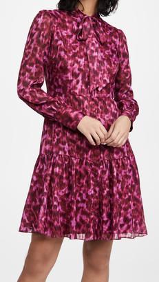 Marchesa Notte Printed Cuff Sleeve Chiffon Mini Dress